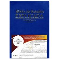 BIBLIA DE ESTUDIO EXPLICADA IMIT PIEL AZUL RVR1960