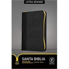 Santa Biblia NTV, Edición zíper con referencias, letra grande (Letra Roja, SentiPiel, Negro)