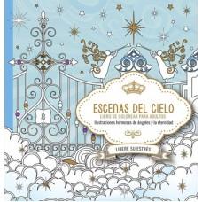 Escenas del Cielo, Libro de Colorear para adultos, Ilustraciones hermosas de ángeles y la eternidad, Libere su estrés