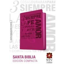 BIBLIA COMPACTA IMIT PIEL FUCSIA 1 COR 13 NTV