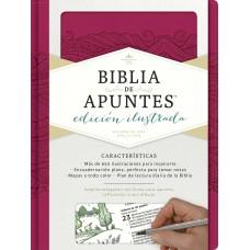 Biblia de apuntes, edición ilustrada, símil piel rosado